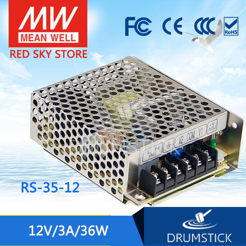 (12.12)MEAN WELL RS-35-12 12V 3A meanwell RS-35 36W Single Output Switching Power Supply best selling mean well rs 35 15 15v 2 4a meanwell rs 35 15v 36w single output switching power supply