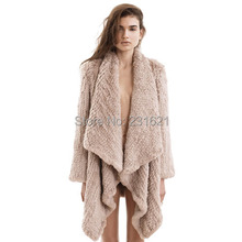 Top quality! Autumn and winter women's knitted 100% rabbit fur coat long sleeve genuine leather asymmetric long coat tb104