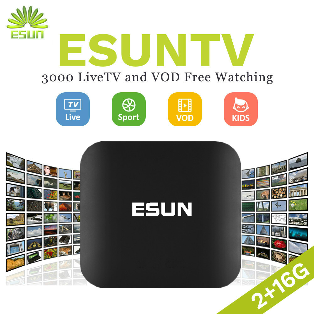 2017 New Arrival ESUNTV 1 Year FREE IPTV Android TV Box 2/16G Arabic Spain UK French Germany Italy Netherland Sweden Portugal image