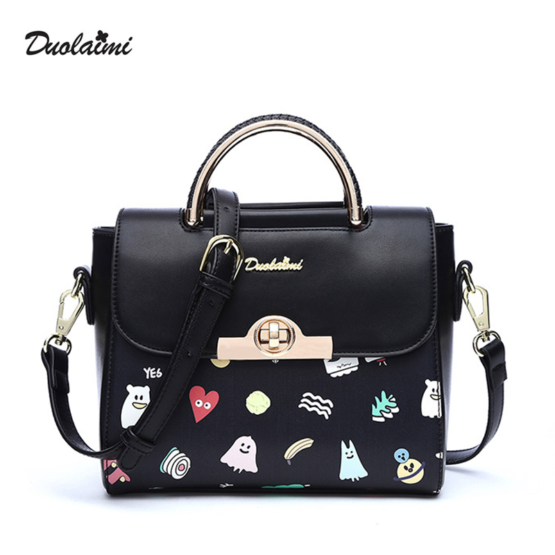 DouLaiMi New Black Women Bag PU Leather Handbags Graffiti Cross Body Shoulder Bags Fashion Messenger Bag Bolsas Feminina Quality hot sale tassel women bag leather handbags cross body shoulder bags fashion messenger bag women handbag bolsas femininas