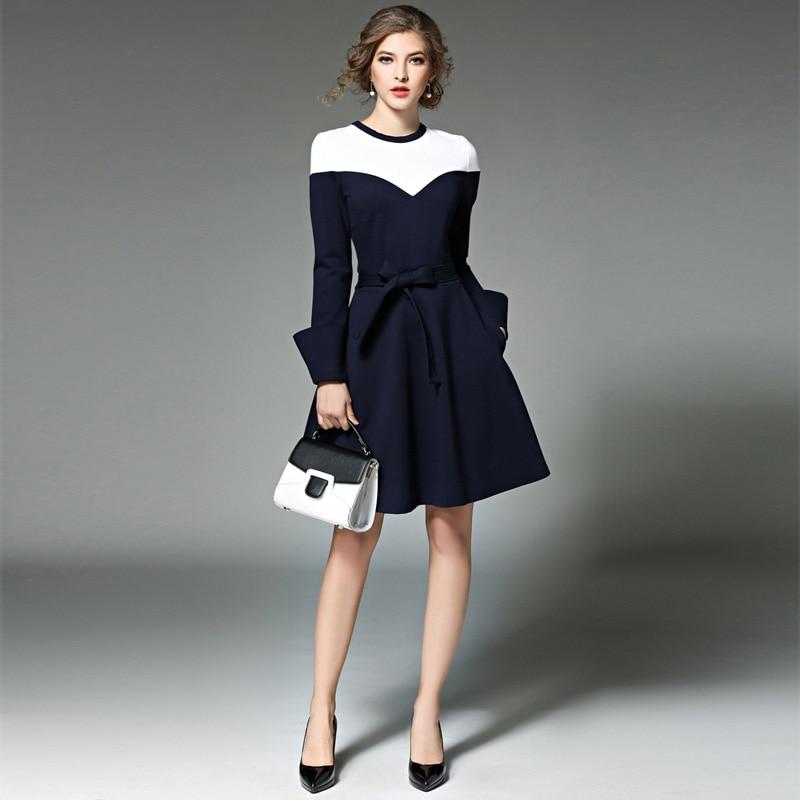 Women Autumn Winter Long Sleeve Stitching Royal blue Elegant Dresses Business Work Causal Fashion A-Line Dress L7442