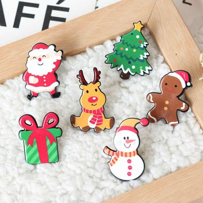 Christmas Gift Acrylic Badges Pin Brooches Santa Claus Snowman Elk Pin for Kids T Shirt Sweater Coat Scarf Hat Decor