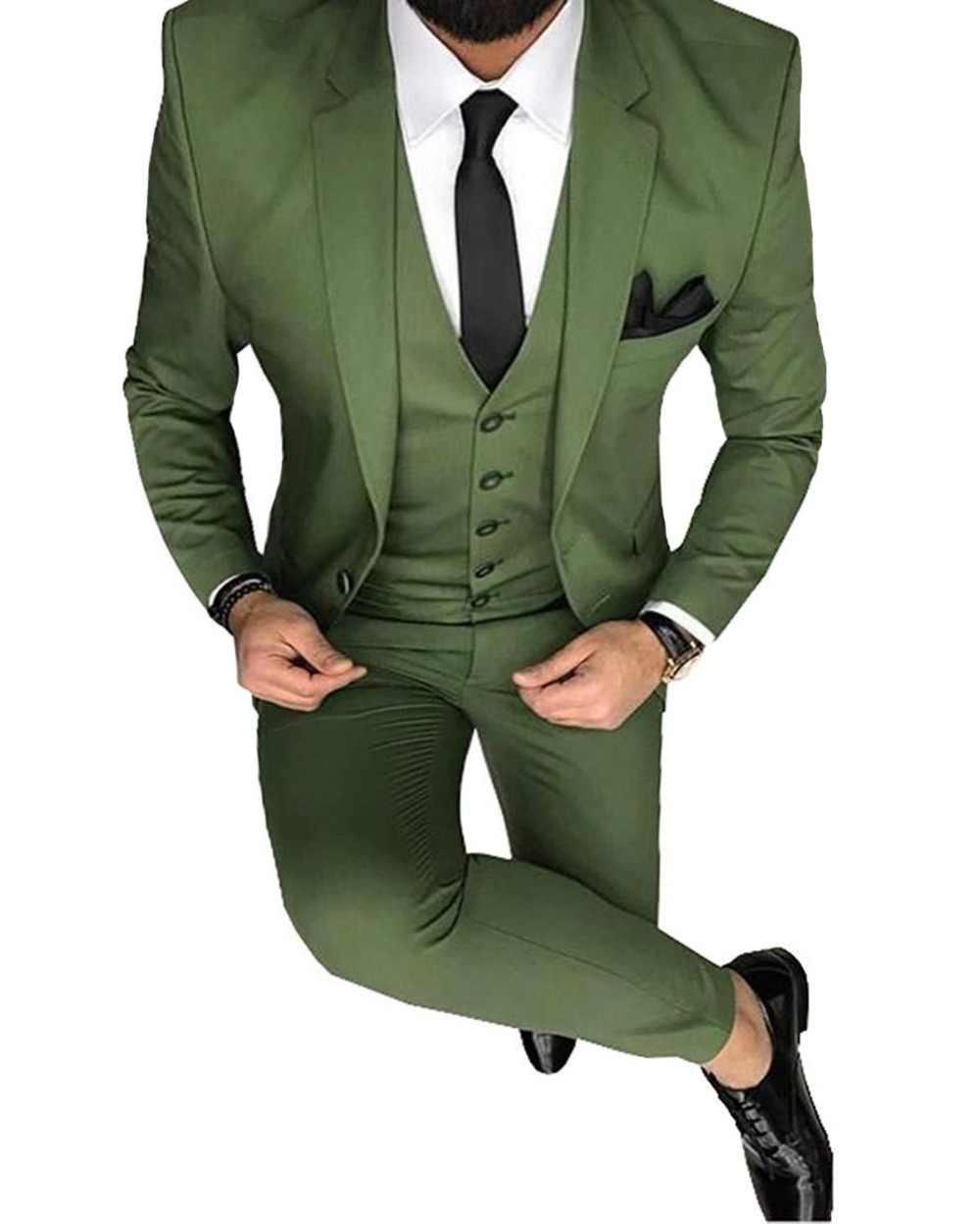 ファッションメンズ Oilve グリーンブルー 3 のスリムフィットノッチブレザークラシックタキシードの付添人パーティー (ブレザー + ベスト + パンツ) 新 2019