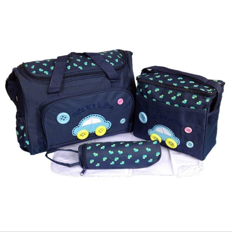 High Quality Cartoon Car Pattern 3pcs/set Multifunctional Mummy Bag Baby Diaper Bag Maternity Baby Bag Care