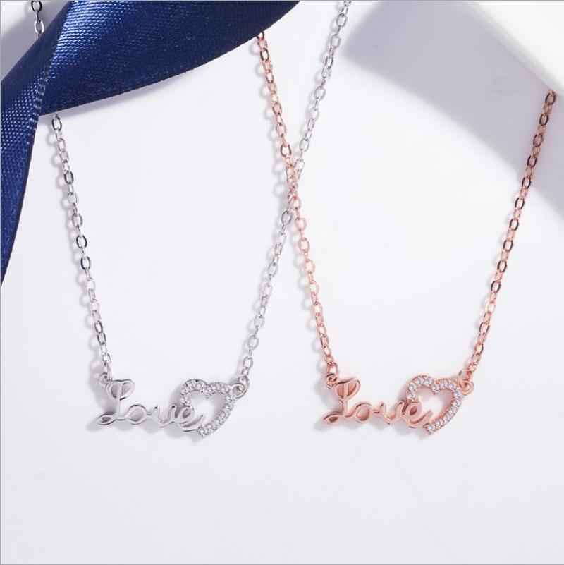 Everoyal Fashion Silver 925 Girls Clavicle Necklace Accessories Lady Romantic Zircon Letter Heart Necklace For Women Jewelry in Pendant Necklaces from Jewelry Accessories