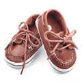New Arrival Lace-Up Design Soft Leather Prewalker Moccasins Baby Boy Shoes 0-12M