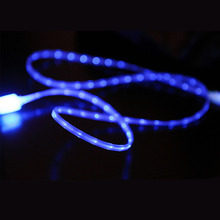 Blue Visible LED EL Light Micro USB Charger Cable Sync Data Cord for XiaoMi Samsung LG Huawei Android Phone Cable