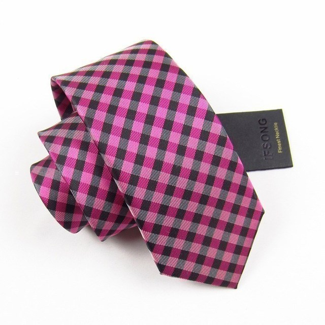 Male fashionable casual tie red black plaid 7cm tie 105