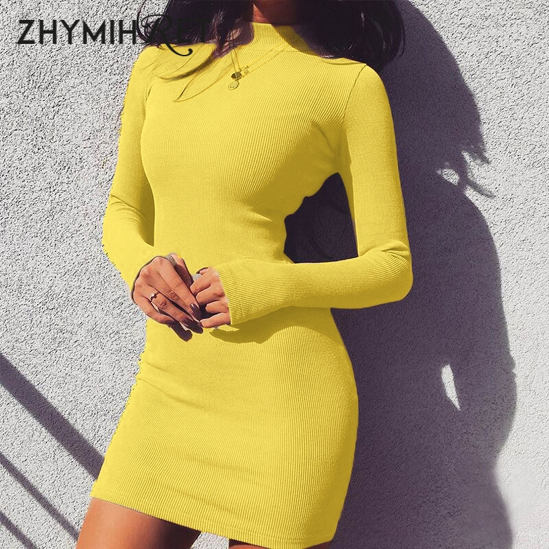 ZHYMIHRET Elegant Mock Neck Ribbed <font><b>Dress</b></font> For Women Autumn Winter Mini Bodycon <font><b>Dress</b></font> Neon Color Long Sleeve Vestidos Mujer <font><b>2018</b></font> image