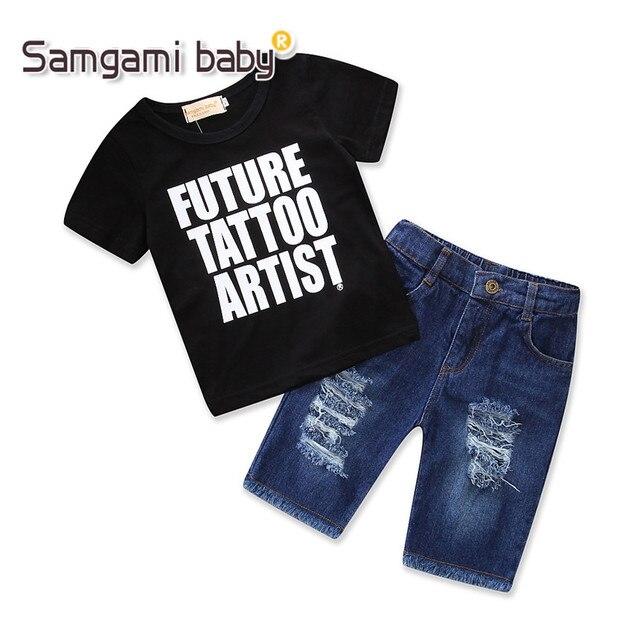 b889cb3d24f4 SAMGAMI BABY Boy Clothing Set Summer Black T-shirt Broken Hole Denim Shorts  2pcs Kids Suit Fashion Children Outfits Boys Clothes
