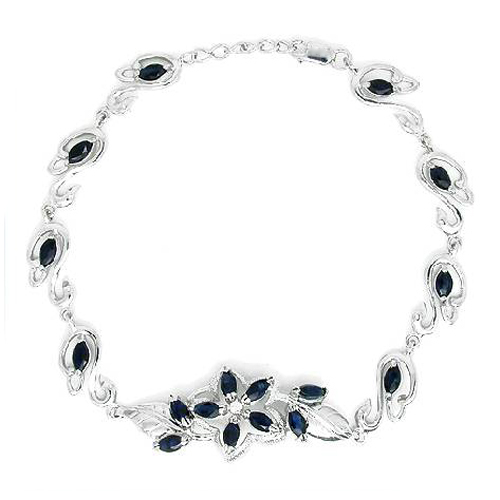 2017 Real Qi Xuan_Free Mail Dark Blue Stone Flower Bracelets_S925 Solid Silver Fashion Bracelets_Manufacturer Directly Sales2017 Real Qi Xuan_Free Mail Dark Blue Stone Flower Bracelets_S925 Solid Silver Fashion Bracelets_Manufacturer Directly Sales