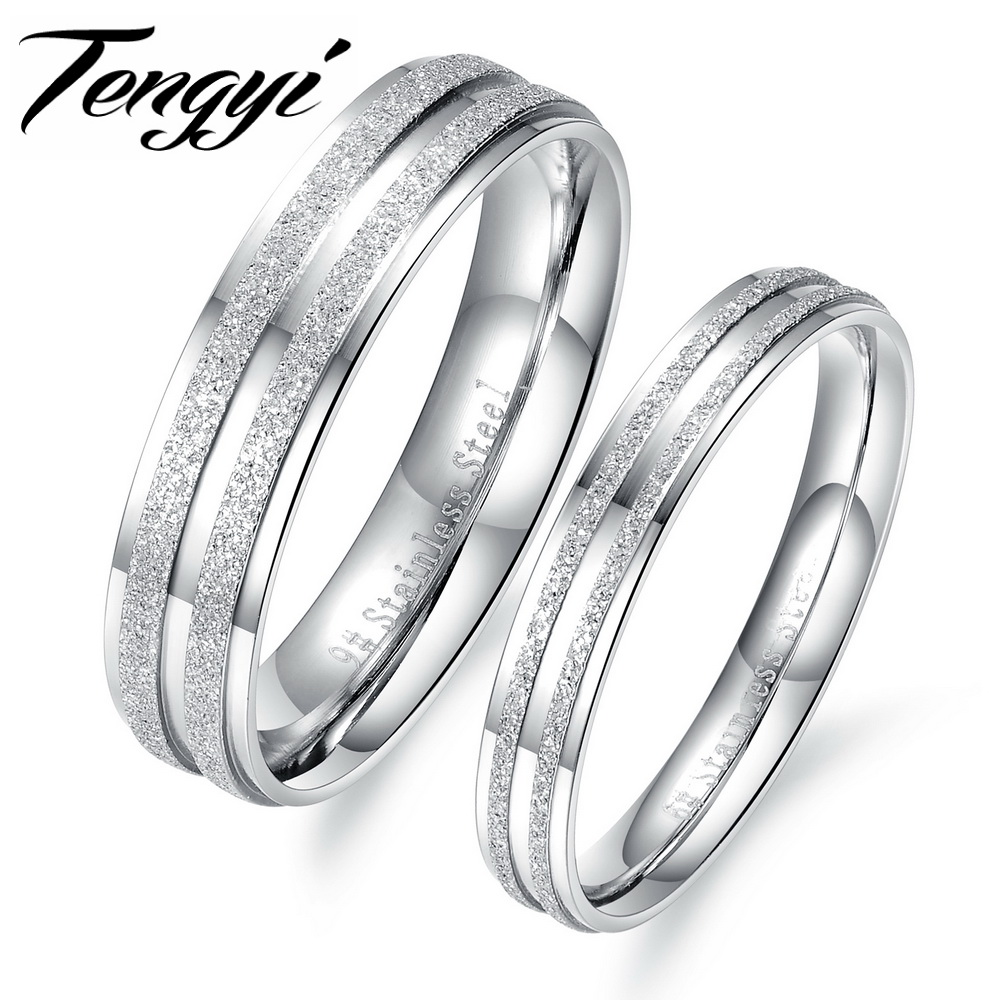 TengYi 2018 Fashion Jewelry 316L Stainless Steel Silver Simple Couple Engagement Ring for Men Women Wedding Jewelry Gift TY445