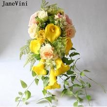 9c9e822f4 Cachoeira JaneVini Vintage Amarelo Peony Da Flor Do Casamento do Lírio de  Calla Bouquets de Noiva de Seda Artificial Rosa Acessó.