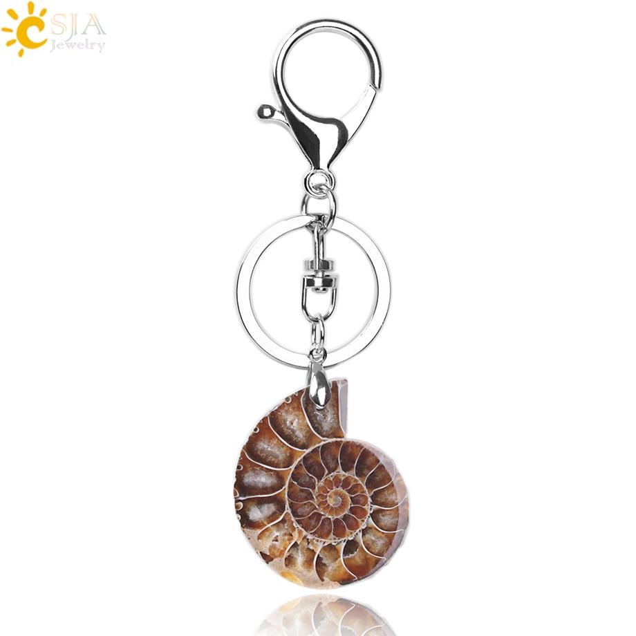 CSJA Motorcycle Car Door Keychains Key Rings Key Holder Lobster For Mens Women Natural Stone Ammonite Animal Shell Pendants F024