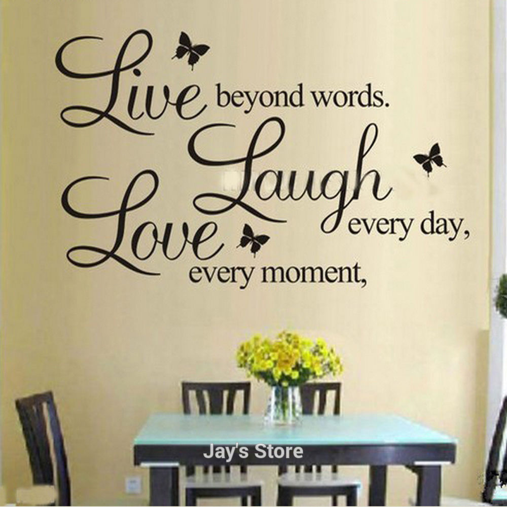 Foodymine live laugh love wall art sticker quote wall decor wall foodymine live laugh love wall art sticker quote wall decor wall decal words butterflies in wall stickers from home garden on aliexpress alibaba buycottarizona