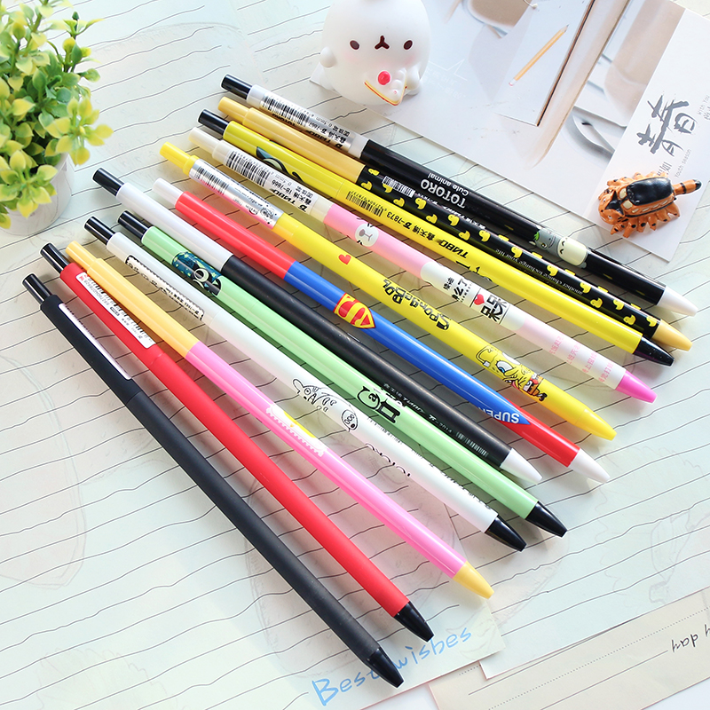 ФОТО 50pcs/set South Korea Stationery Creative Thin Rod Small Lovely Students 0.5 Mm Blue Ink Press Ballpoint Pen Wholesaler Factory