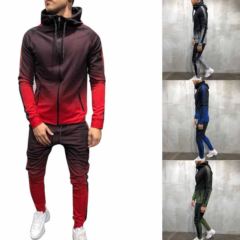Conjunto de chándal con cremallera de Yutwpez para hombre, conjunto deportivo, 2 piezas, chándal, ropa para hombre, con capucha, chaqueta, pantalones, chándal para hombre