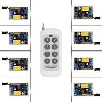 0 500m Mini Size 220V 1CH 1CH 10A Wireless Remote Control Switch Relay Receiver 8CH Transmitter