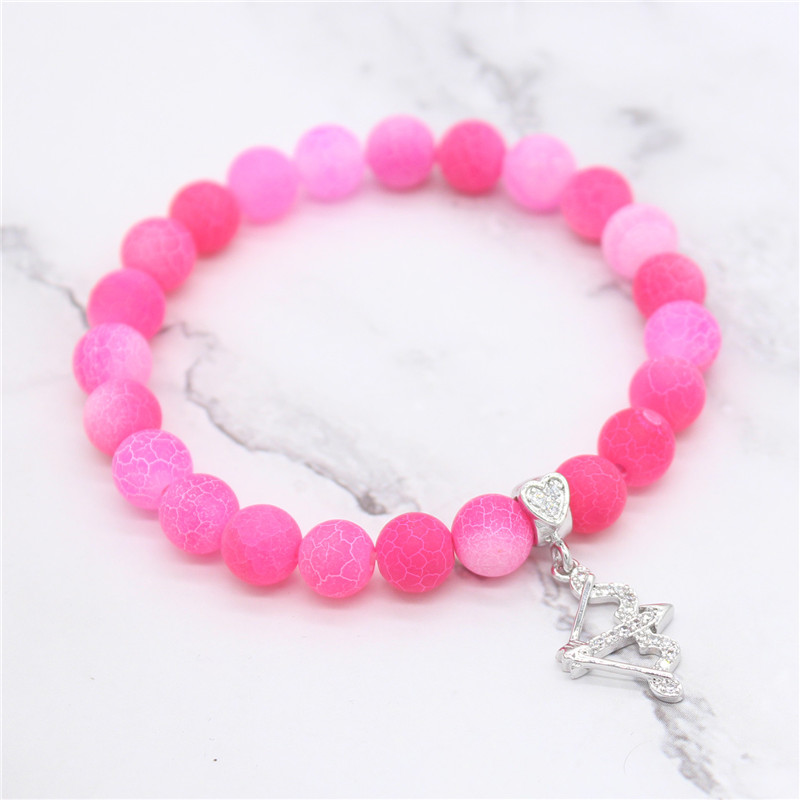 Heart Arrow Shape Cubic Ziconia Bracelet Sweet Pink Natural Stone Beads Bracelets for Women Girl Gifts Charm Jewelry MBR180260