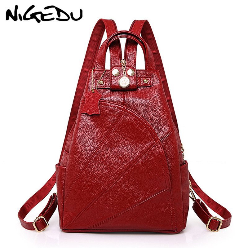 NIGEDU Women Backpacks Soft Leather Shoulder Bag Women's Backpack School bags For Teenagers Girls mochila Female Travel bags fashion women leather backpack rucksack travel school bag shoulder bags satchel girls mochila feminina school bags for teenagers