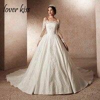 Lover Kiss Vestido De Noiva Vintage Grand Lace Long Sleeve Wedding Dress Off Shoulder 2019 Shiny Bridal Gowns European Weddings