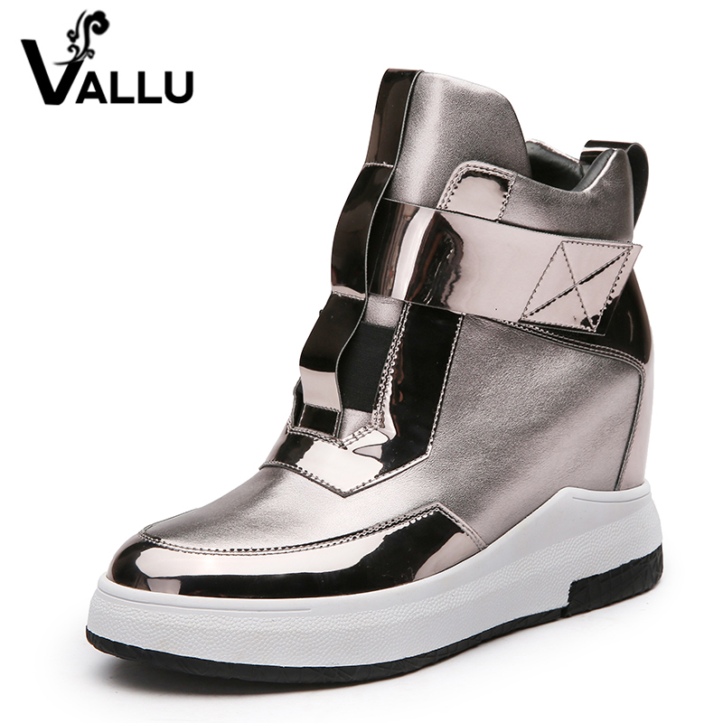 2017 New Arrival Women Shoes Height Increasing Flat Platform Genuine Leather Ankle Boots 2017 women warm boots genuine leather height increasing cut out flat platform short plush women ankle boots