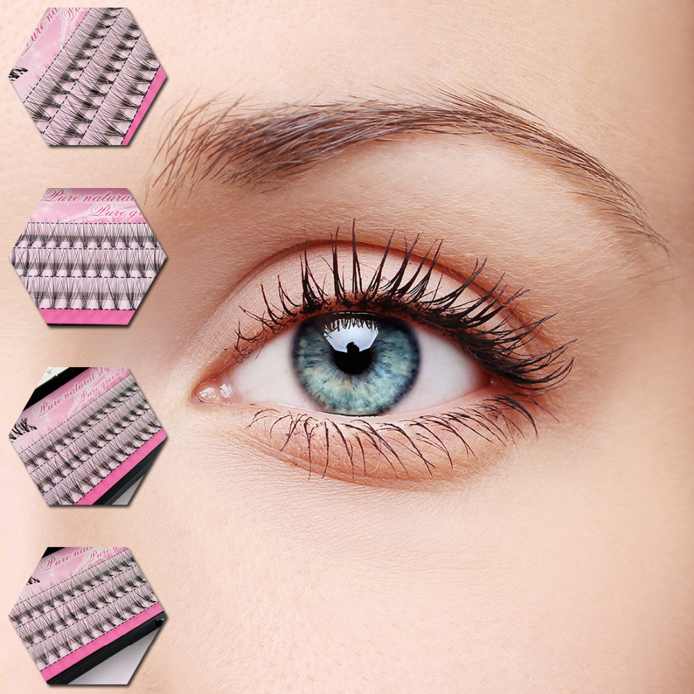 Hot Sale 8/10/12mm 60 Bundle/Set Makeup Individual Cluster Natural Long Eye Lashes Fake  ...