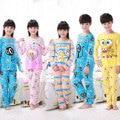 Детские пижамы набор детей пижамы Весна/осень Девушки с длинными рукавами мультфильм прекрасный пижамы Мальчики повседневная ночная рубашка костюм