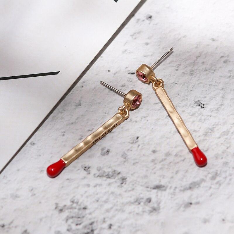 Vanssey Fashion Jewelry Red Match Light My Fire Austiran Rhinestone Enamelled Long Earrings Accessories For Women 2018 New