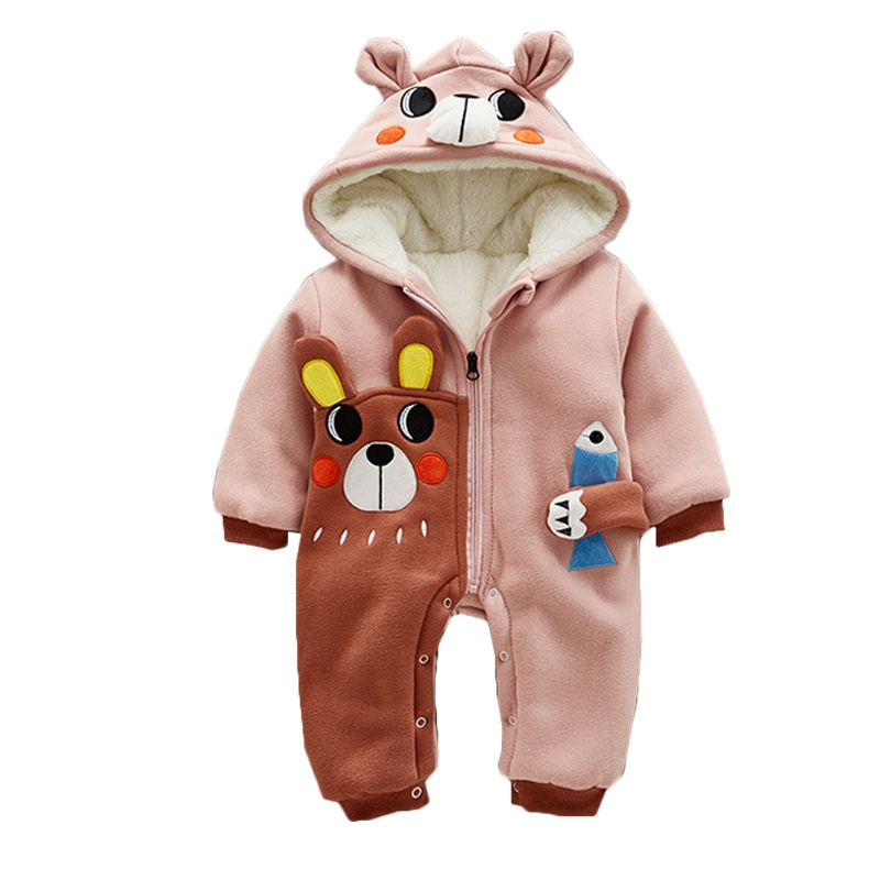 Winter Baby Boy Girl Clothes Thicken Baby Rompers Fleece Newborn Clothing One-Piece Cute Animal Newborn Romper Hooded Jumpsuits newborn baby rompers autumn winter package feet baby clothes polar fleece infant overalls baby boy girl jumpsuits clothing set