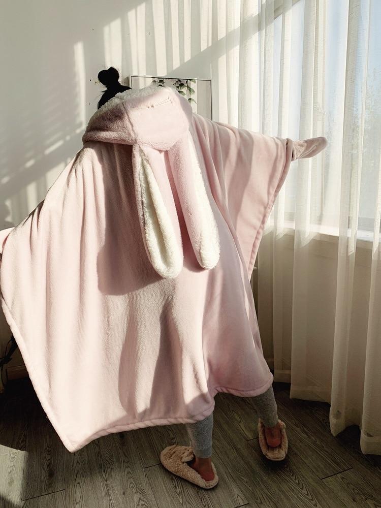Cute Pink Comfy Blanket Sweatshirt Winter Warm Adults and Children Rabbit Ear Hooded Fleece Blanket Sleepwear Huge Bed Blankets 123