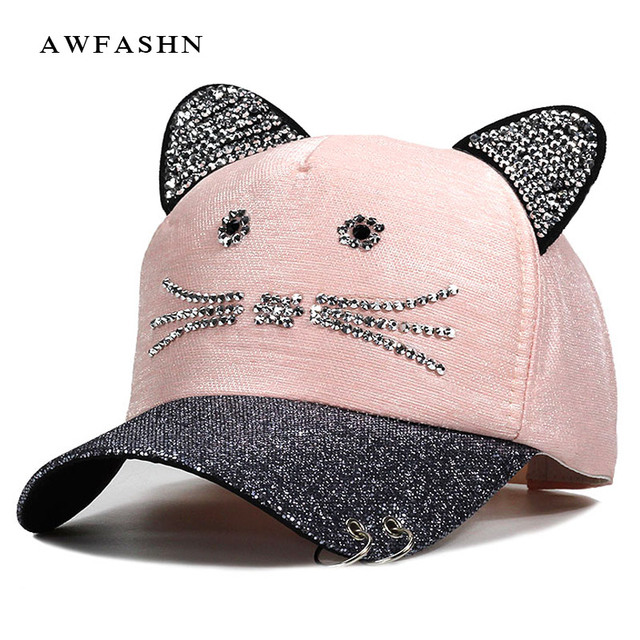 Women s Caps Flashing Rhinestone Baseball Cap With Cute Cat Ears Snapback Hats  For Women Drake Metal Ring Trucker Pink Cap 5bb9ad054ed5
