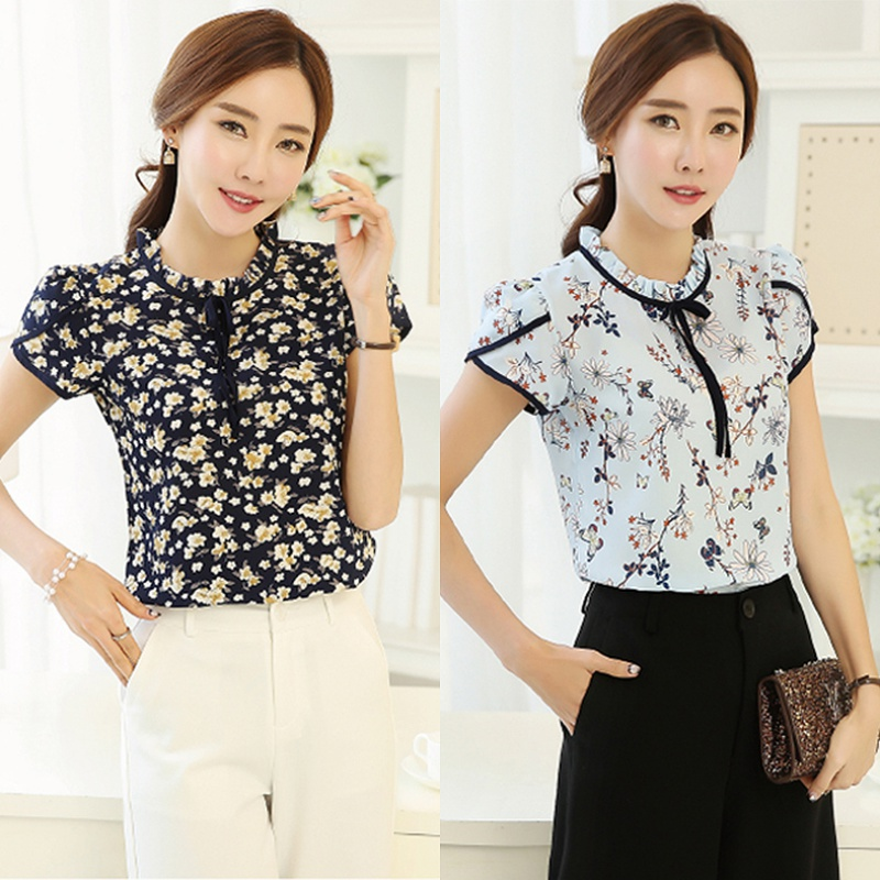 2019 Summer Vintage Fashion Qualities Women Chiffon Short Sleeve Ruffled Neck Floral   Shirt   Party Office Casual Slim   Blouse   Tops