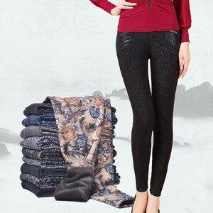 Image 4 - YAVO SOSO Herfst Winter Stijl Plus Fluwelen Warme leggings Vrouwen Plus size XXXL Printing Bloemen 20 Kleuren dikke vrouwen broek