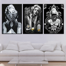 Tattoo Marilyn Monroe Art Prints Black White Pop Poster Sexy Portrait Canvas Wall Pictures 3 panel for Home Office Decors