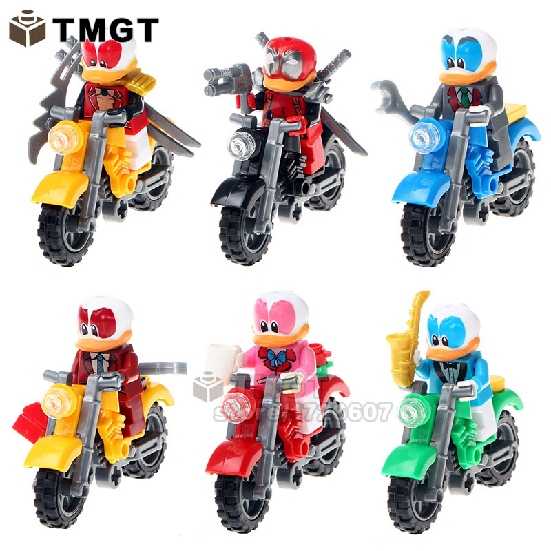 Blocks Initiative Tmgt 6pcs/lot Duck Super Hero With Motorcycle Kit Action Figures Building Blocks Children Gifts Toys More Discounts Surprises
