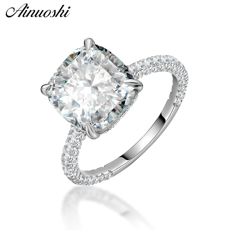 AINOUSHI Trendy 925 Sterling Silver Wedding Engagement Big Cushion Rings Lady Silver Anniversary Party Rings Jewelry
