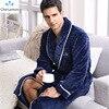 CherLemon Winter Flannel Robe Sleepwear Thicking Mens Warm Spa Bathrobe Pajamas Male Long Sleeve Belt Solid