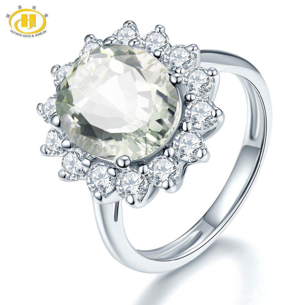 Hutang Stone Jewelry Natural Gemstone Green Amethyst Solid 925 Sterling Silver Flower Engagement Ring Fine Fashion