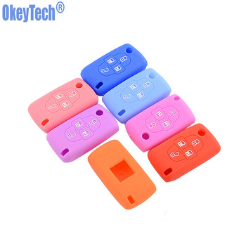 OkeyTech Silicone Car Key Fob Cover Case Skin For Peugeot Car Key 4 Buttons For Peugeot 1007 807 Protector Holder image
