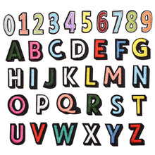 1pc English Alphabet Embroidery Number Letter Clothes Cloth Diy Sticker Pattern Decal Iron On Patch