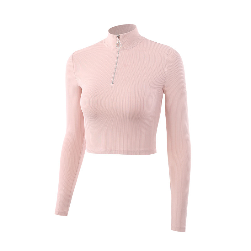 Oyoo Women's Pink Knit Rib Workout Track Jacket Half Zip Pullover Long Sleeve Yoga Running Shirt Soft Crop Top Sports Hoodie все цены
