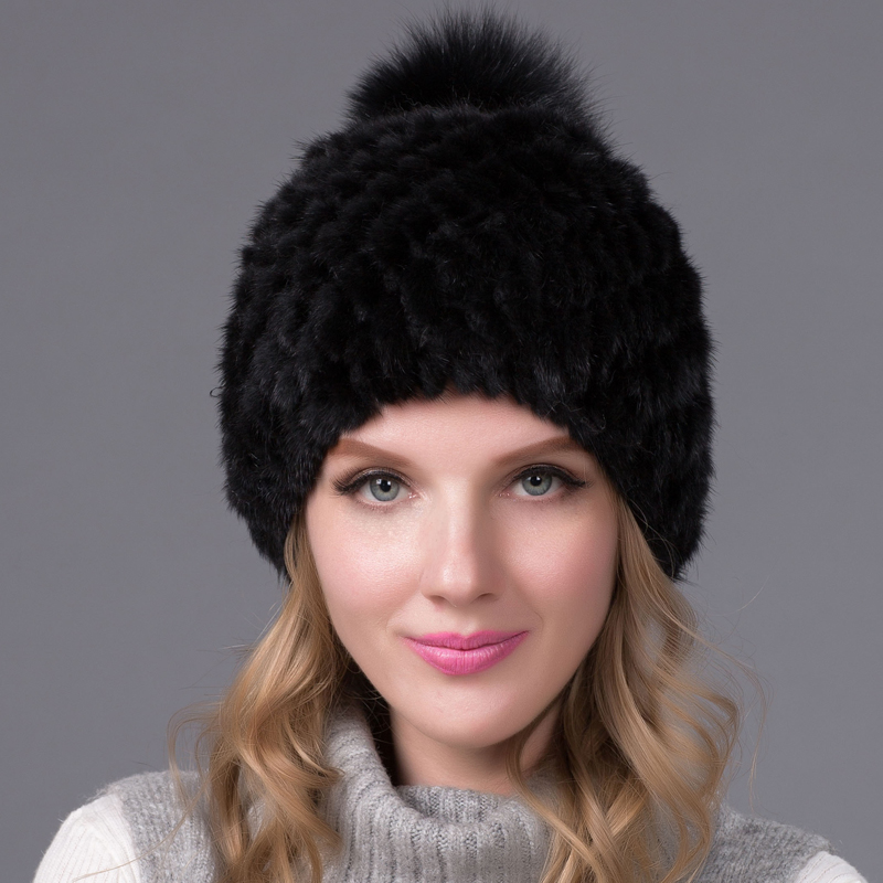 Hot sale real mink fur hat for women winter knitted mink fur beanies cap with fox fur pom poms  brand new thick female cap6585 real mink fur hat for women winter knitted mink fur beanies cap fox fur pom poms brand new thick female cap