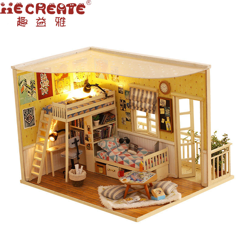 Me and My Little Buddy Doll House Miniature DIY Dollhouse With Furnitures Wooden House Stars Sky Toys For Children Birthday Gift just me and my dad little critter