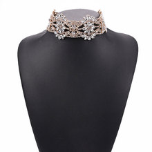 New Fashion Full Crystal Flower Wide Neck Chain Hollow Short Clavicle Necklace Exaggerated Female