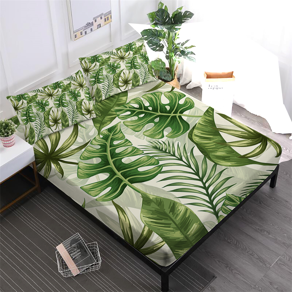 Green Leaves Print Bedding Set Tropical Plant Painted Fitted Sheet King Queen Bed Linens Pillowcase Mattress
