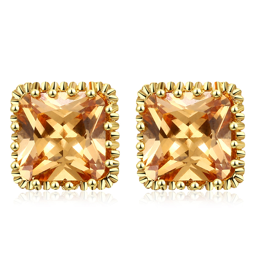 Romad 9mm Asscher Cut Clear Cubic Zirconia Goldcolor Cubic Zirconia Post  Stud Earrings Jewelry For Women 3 Colors
