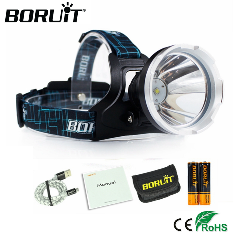 BORUIT B10 XM-L2 LED Headlamp 3-Mode 3800LM Headlight Micro USB Rechargeable Head Torch Camping Hunting Waterproof Frontal Lamp cree xml l2 led zoomable headlamp red green blue fishing 4 mode head lamp light torch hunting headlight 18650 battey usb charger