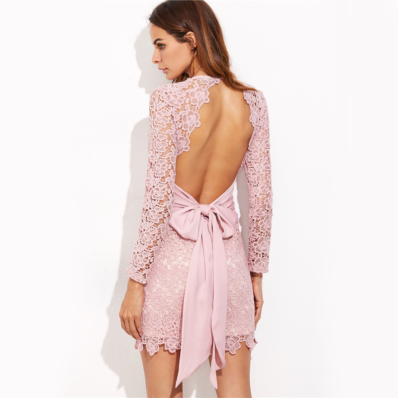 COLROVIE Vintage Lace Bow Tie Dress Sexy Open Back 2017 Women Elegant Pink Summer Party Dresses Long Sleeve Mini Bodycon Dress 7
