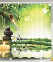 Salle de bains Zen Jardin douche curtians Fleur Conception Relaxation Décorations Vert Bambous douche rideau